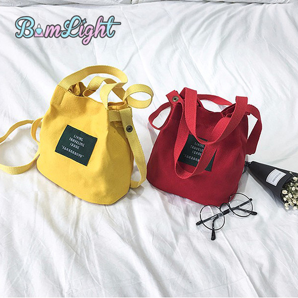 2019 Fashion Bomlight Brand Cute Canvas Women Handbags Ladies Candy Color Crossbody Bags Cheaper Shoulder Bags Female Bucket Messenger Bags
