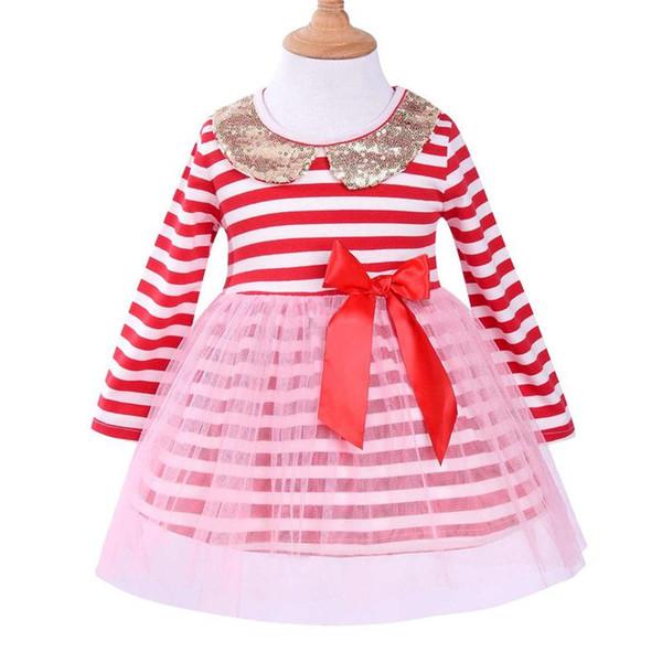 Mikrdoo kids Baby Girls Princess Dress Cute Sequin Long Sleeve Tutu Tule Dresses Bow Birthday Formal Wedding Party Wear Skirts Clothes