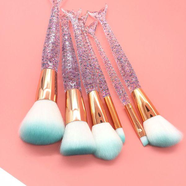 6Pcs New Mermaid Diamond Transparent Makeup Brush Set eye Brush Tool Manufacturers Direct Selling