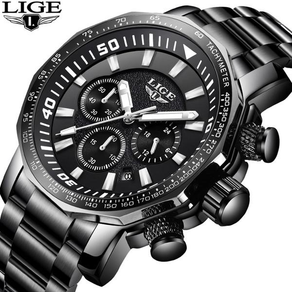 LIGE Mens Watches Brand Luxury Gold Quartz Watch Men Casual Leather Military Waterproof Sport Wrist Watch Relogio Masculino 71