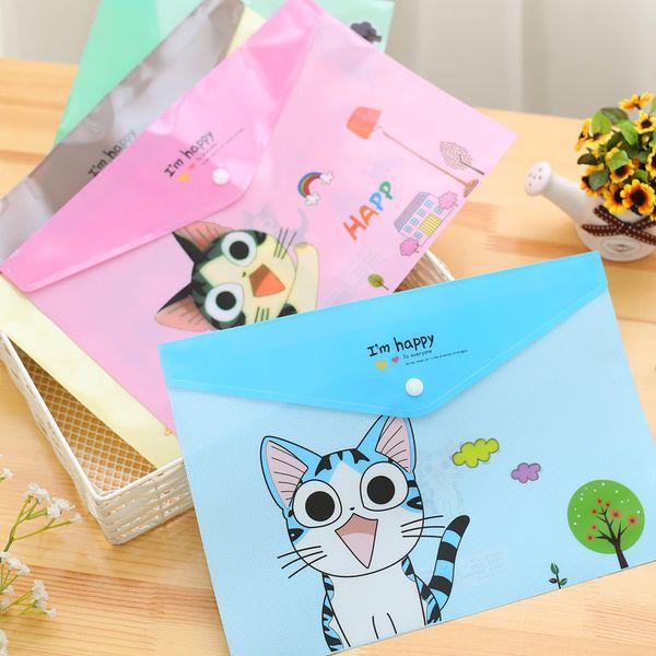 Wholesale 30PC/Lot Cute A4 Document Bag Document Holder Kawaii Cartoon Animal PVC File Folder Bag Student School Paper Bag