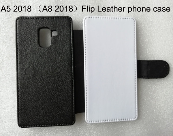 Flip Leather phone case for Samsung galaxy A5 2018 / A8 2018 Sublimation print leather hard case + blank polyester colth 100pcs/lot