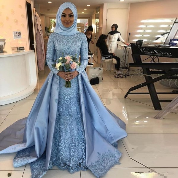Vintage Sky Blue Muslim A Line Wedding Dresses With Overskirt Train 2019 Full Long Sleeves Lace Appliques Bridal Party Gowns For Garden