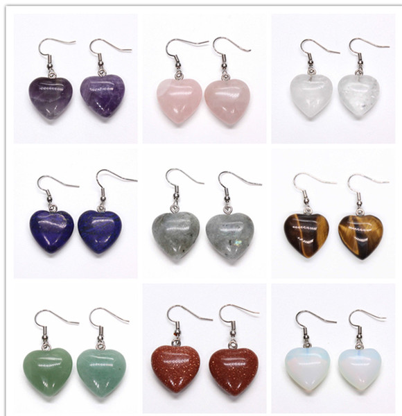 Wholesale 10 Pairs Elegant Style Silver Plated Amethyst Rose Quartz Heart Earrings Tiger Eye Stone Fashion Jewelry
