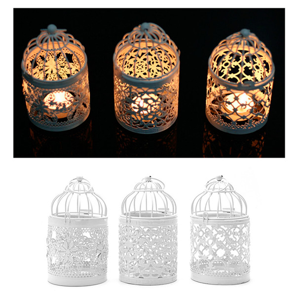 3 Colors Home Decoration Hollow Holder Tealight Candlestick Hanging Lantern Bird Cage Vintage Christmas/Fairy Wedding/Party Decoration