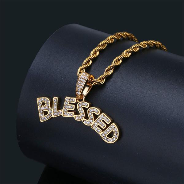 Cartas bendecidas collares pendientes para hombres chapado en oro verdadero Hiphop joyería diseño de la marca Hip Hop collar de los hombres al por mayor