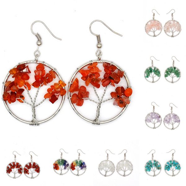 10 Styles Natural Crystal Crushed Stone Life Tree Wish Tree Dangle Earrings Crystal Earrings For Women Support FBA Drop Shipping H349Q