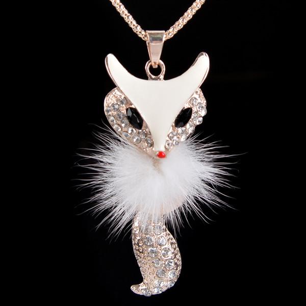 Branco Fox Pingente de Colar Longo Camisola Cadeia Liga de Strass Ouro Moda Senhora Jóias das Mulheres de Alta Qualidade Charme Colares Frete Grátis