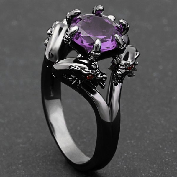Dragon Ring Fashion Black Gold Filled Jewelry Vintage Blue CZ Crystal Rings for Women Men Jewelry