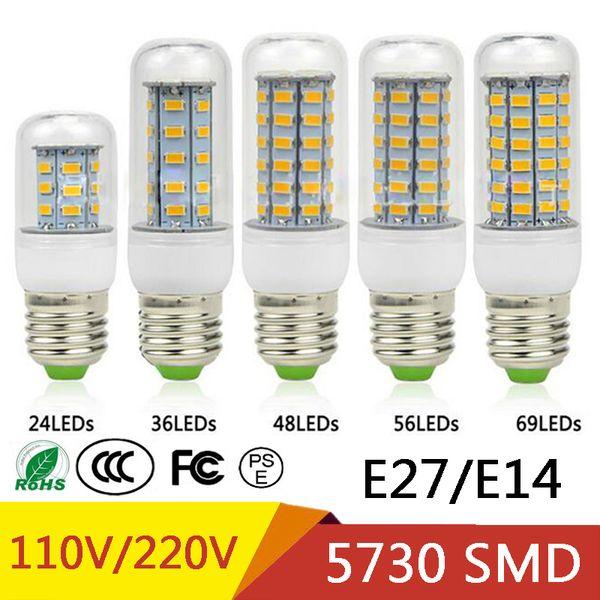 best selling E27 E14 24W SMD5730 LED Lamp 7W 12W 15W 18W 220V 110V Corn Lights LED Bulbs Chandelier 36 48 56 69 72 LEDs