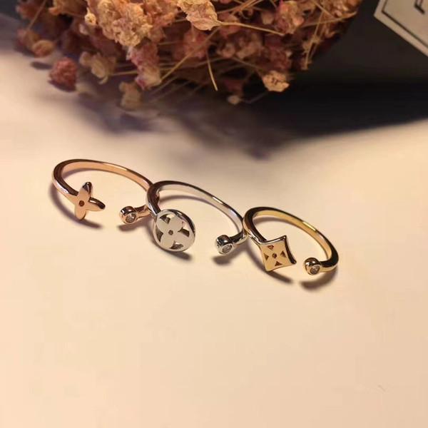 316L Titan Stahl hohle Blume Liebhaber Band Ringe mit drei Stück und Diamanten für Frauen Hochzeit Schmuck heißer Verkauf PS5451