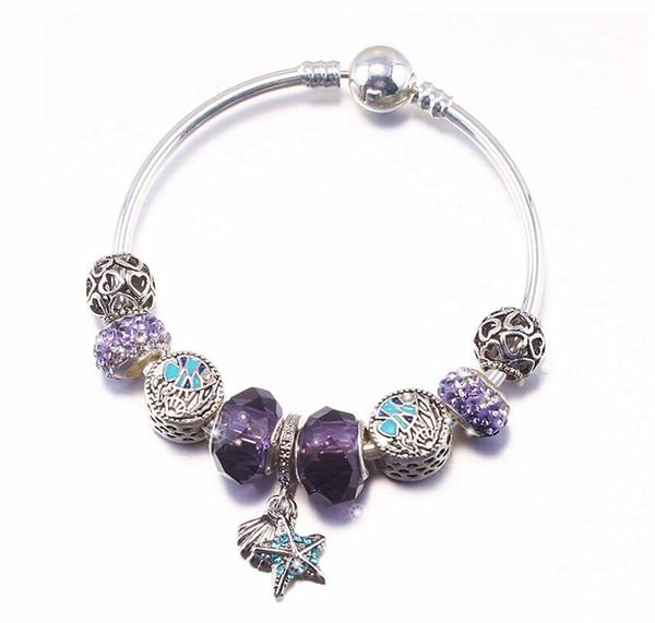 3 Colors Fashion 925 Sterling Silver Starfish shell Glass&Crystal European Charm Beads Fits Charm bracelets Style Bracelets