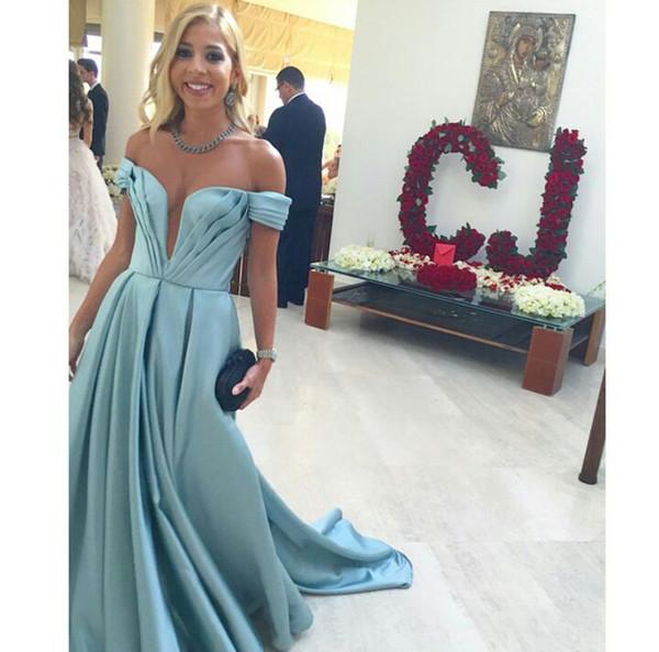 Сексуальные плиссированные вечерние платья с глубоким V-образным вырезом с открытыми плечами Атласные платья выпускного вечера Длинные 2019 vestidos de fiesta