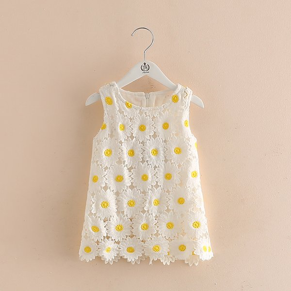 Children Girl Dress Summer 2017 New Fashion Flowers Lace Dress For Girls Cute O-neck Sleeveless Kids Clothes Girls B0231