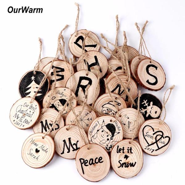Il nuovo disegno 20pcs Alberi di Natale Hanging 5 -6cm di legno rotondo fetta Natura legno tag regalo Decorazioni di natale a casa