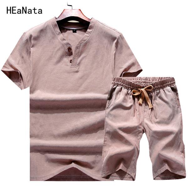 Sommer Herren Shorts Sets Kleidung zweiteilige Trainingsanzug Set T-Shirt Männer Hosen Leinen Casual Sportwear Fitness Streewear Trainingsanzug