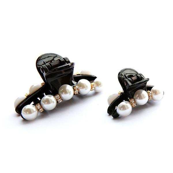 Black Rhinestone Girl Barrettes Headwear Women Hairpins Pearl Hair Clip Crab Hair Claw Hair Accessories for Female Headwear
