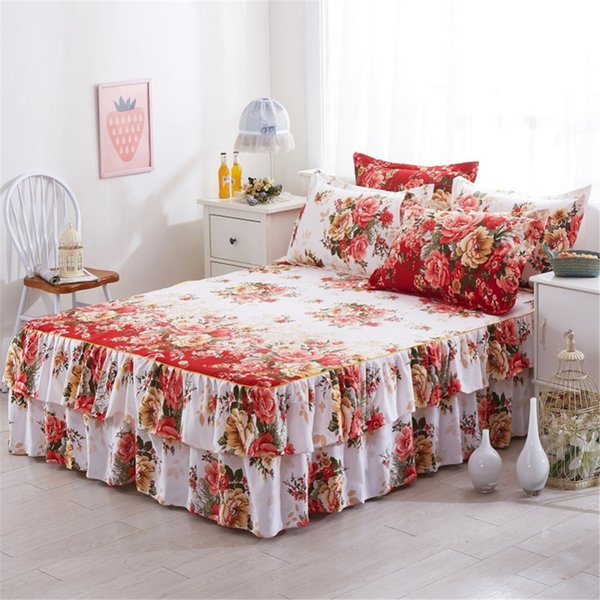 150x200cm Elegant Floral Printed Two Layer Bed Skirt Thin Bedspread Satin Cotton Bed Sheet for Wedding Decoration Cover