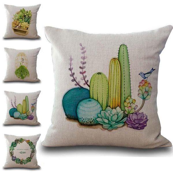 Succulent Wreath Plants Pattern Pillow Case Cushion cover Linen Cotton Throw Pillowcases sofa Bed Car Decorative Pillowcover drop ship