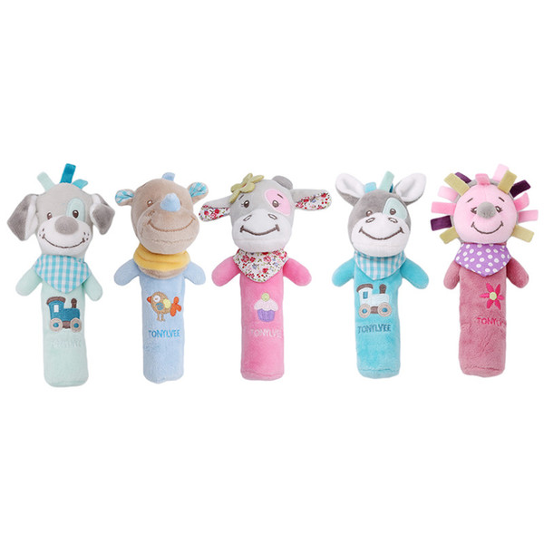 Wholesale- New Classic Cute Baby Toys Baby Newborn Hand Grip Rod Toys Educational Doll Rattle Animal BB Stick Soft Hand Bell