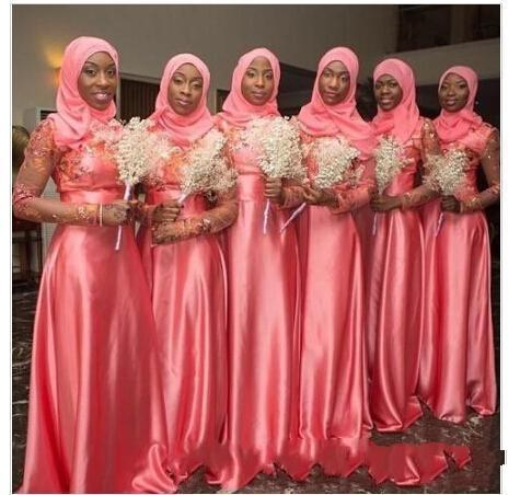2018 Muslim Long Coral Bridesmaid Dresses Sheer Long Sleeves Lace Appliques Blink A Line Floor-length Maid of Honor Dresses