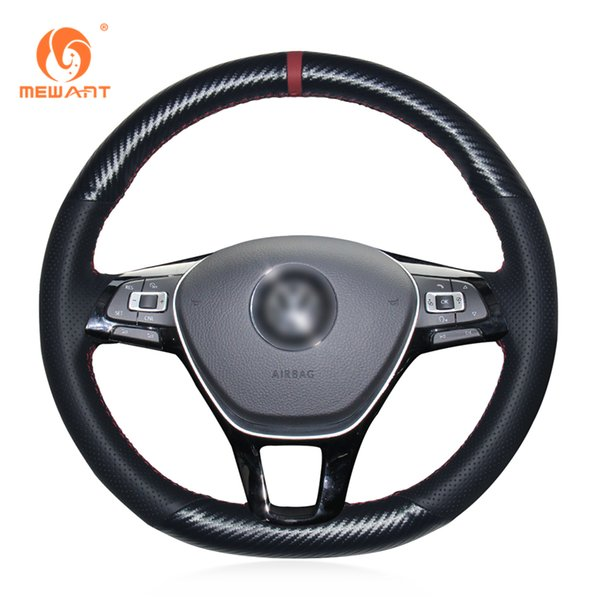 MEWANT Black Genuine Leather PU Carbon Fiber Car Steering Wheel Cover for Volkswagen VW Golf 7 Mk7 New Polo Jetta Passat B8 Tiguan