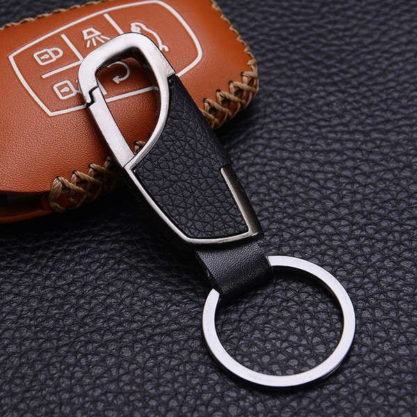 2019 New Fashion High Quality Mens Real Leather Car Key Chain Ring Best Design Gift Metal Key Chain for Sale