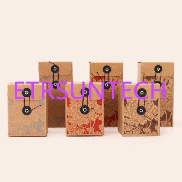 Retro Kraft Kare Kağıt Kutusu Çay Ambalaj Kutusu Basit Katlanır Kutu Bitkisel Çiçek Çay Boş Hediye Kutuları QW8020