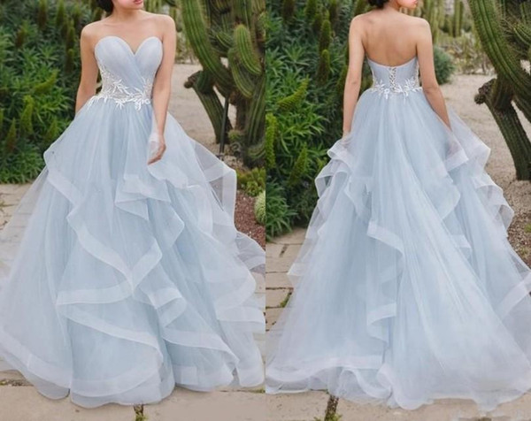 Simple Style Skye Blue A Line Prom Dress Sweetheart Neck With White Lace Ruffles Train Corset Back Boho Beach Bridal Party Gowns