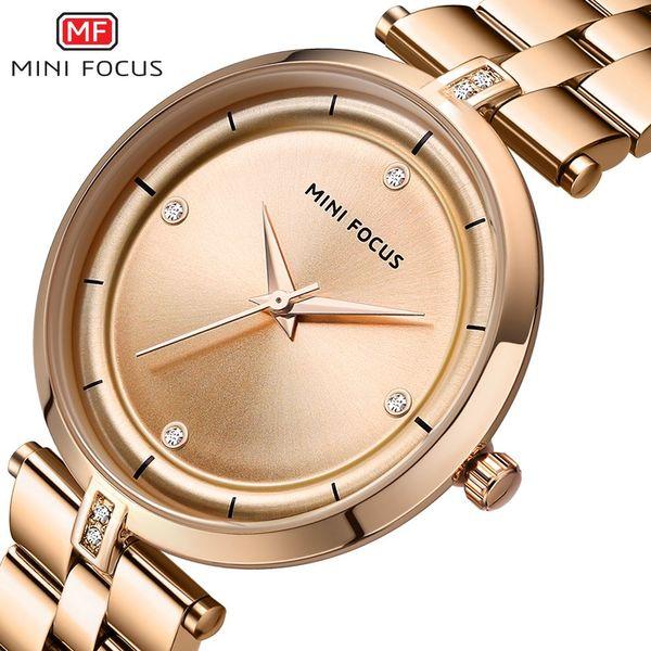 MINI FOCUS Watch Women Watches Quartz Rose Gold Clock Ladies Top Brand Luxury Stainless Steel Bracelet Diamonds Wrist Watch Gift