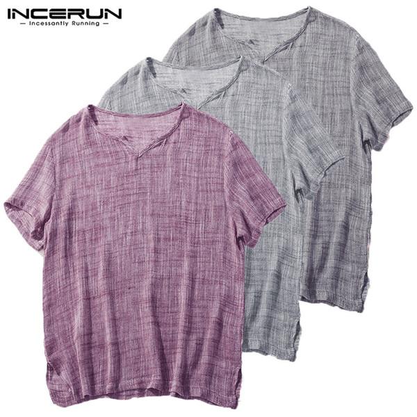 Camiseta de Algodão dos homens de Verão T-shirt de Manga Curta Com Decote Em V Solto de Fitness Camisas Casuais Corredores Camisa Homens Hombre Tee Tops INCERUN