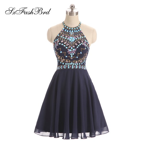 Elegant Halter With Beading A Line Mini Short Navy Blue Chiffon Party Formal Evening Dresses for Women Prom Dress Gowns