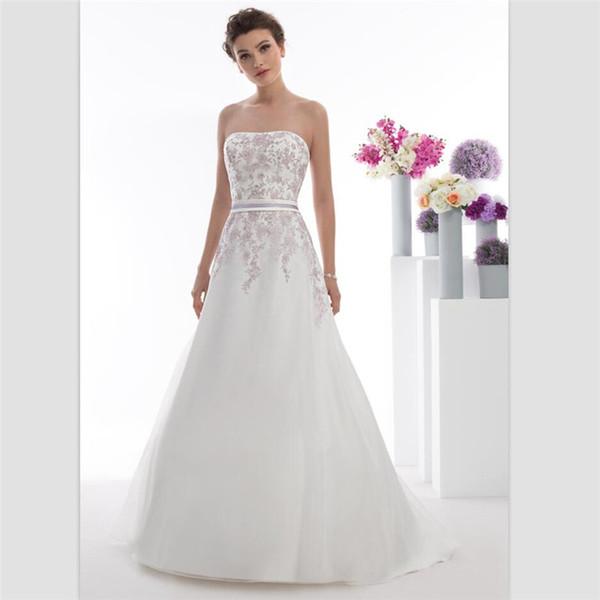 2018 Sexy Strapless White Organza A Line Wedding Dresses Custom Vestido De Novias Lace Appliques Wedding Gowns With Belt Bridal Dresses