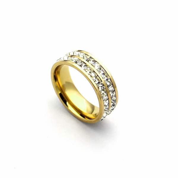 Fashion Lady 316L Titanium steel Double Rows Square Diamond Wedding Engagement 18K Gold Plated Rings 3 Color Size6-9