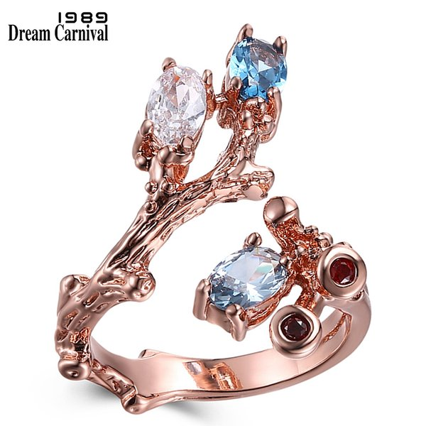 DreamCarnival 1989 Vintage Rose Gold Color Ring Open Ends Design Flower Plant Look Blue and Clear Zircon Fashion Jewelry WA11546