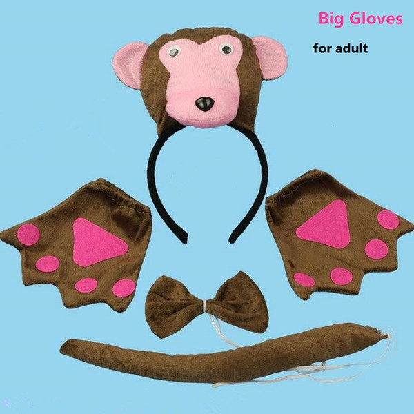 3D Monkey Headband Bow Tie Tail Cosplay Animal 3pcs Set Kids Adults Halloween Performance Props Party Favors