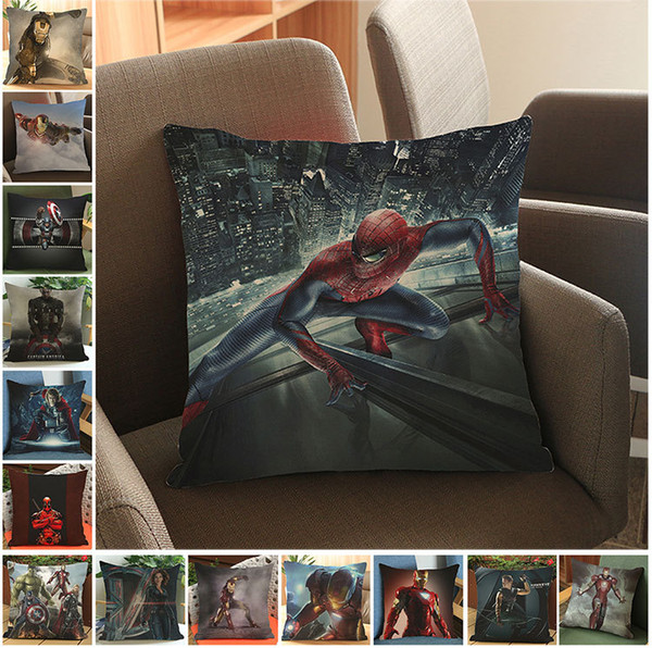 14 Colors Batman Pillow Case 45*45CM Justice League Iron Man Pillow Cushions Pillowcase Cushion Without Filling Decorative Pillow