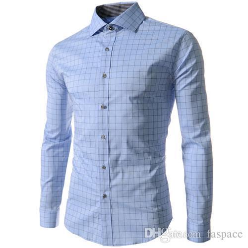 Wholesale- 2015 New Brand Quality 4XL Grid / Plaid Prints Fashion Mens Dress Shirts Slim Fit Long sleeve Casual Social Camisas Masculinas