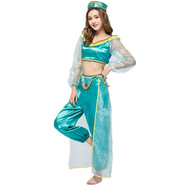 Neue Arabischen Indien Jasmin Prinzessin Kostüm Halloween Fee Griechische Göttin Cosplay Kostüm Für Frauen Party Kleid