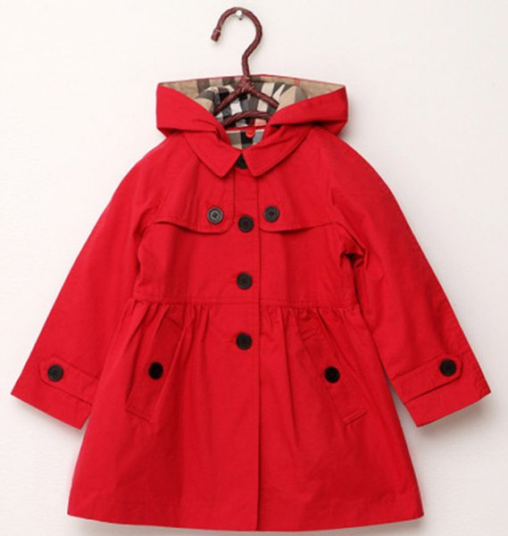 best selling new childrens clothing girl spring and autumn princess coat solid color medium-long single breasted trench babys outerwear