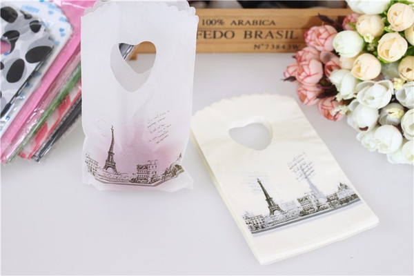 Vendita calda nuovo stile all'ingrosso 350 pz / lotto sacchetti regalo di plastica torre eiffel con manici mini borse regalo gioielli