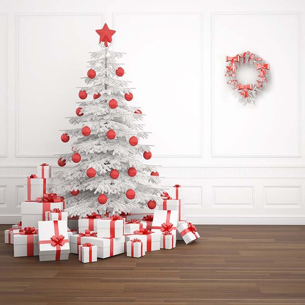 Merry Xmas Photography Backdrop Printed White Wall Garland Red Balls Christmas Tree Presents Family Party Photo Booth Background
