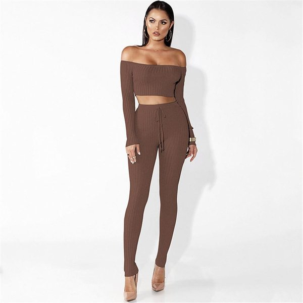 Sexy 2 pieces suit long Pants Women Sexy Skinny Slim Long Sleeve Top Casual Pencil Pants Trousers Two Pieces pants SW-030