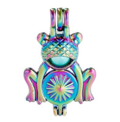 Rainbow Color Cute Frog Pearl Cage Beads Cage Locket Pendant Essential Oil Diffuser DIY Jewelry Locket For Oyster Pearl C193