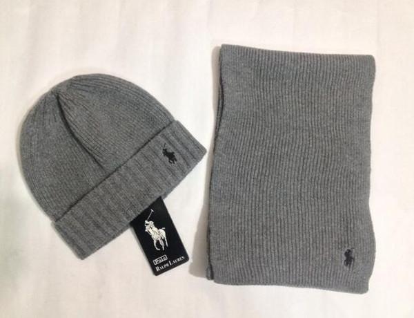 Popolare nuovo cappello e sciarpa set moda autunno inverno uomo e donna sciarpa cappello lavorato a maglia cappello e sciarpa set nuovo pony marchio