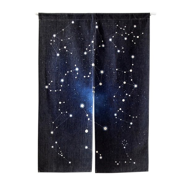 Magical Star Sky Pattern Door Curtains Study Living Room Kitchen Cafe Half Open Door Valance Home Decoration