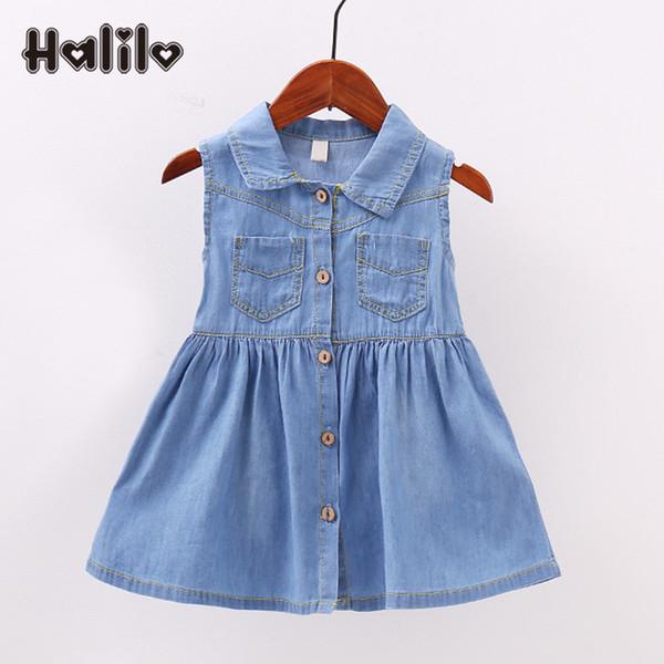 Halilo Yaz Bebek Giysileri Kolsuz Yaka Prenses Bebek Kız Elbiseler Küçük Kızlar Giyim Yeni Mavi Denim Bebek Parti Derss