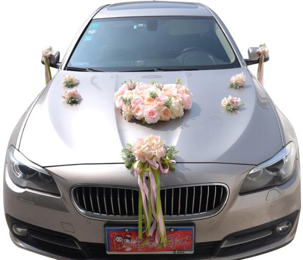 Artificial Rose Ribbon Wedding Car with flower Decoration Sets Wedding Supplies Heart-shaped Wedding Wreaths Decorative Flowers