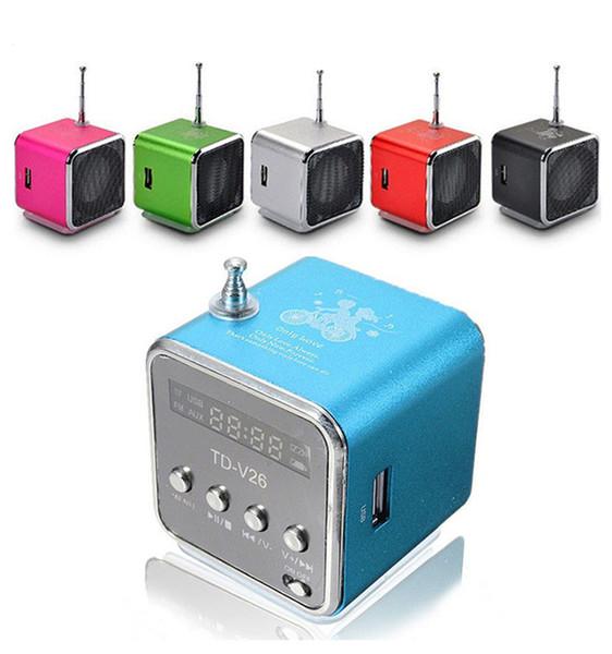 Xmas Gift Portable Mini Speaker TD-V26 HiFi Stereo Audio Speakers FM Radio TF U Disk Slot Multi-Speaker Digital Sound Box Mp3 Music Player