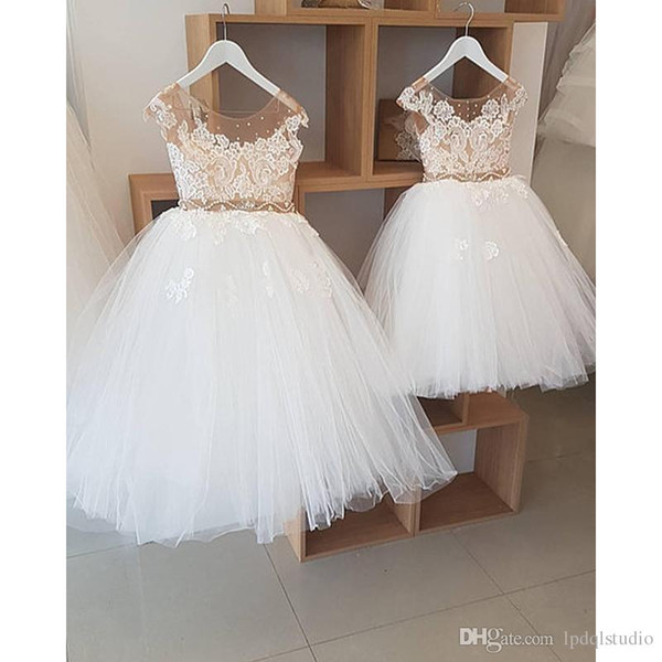 Fairy Ball Gown Flower Girls Dresses Ivory Tulle with Champagne Lining and sheer Sparkling Beads Girls Party Dresses Cheap